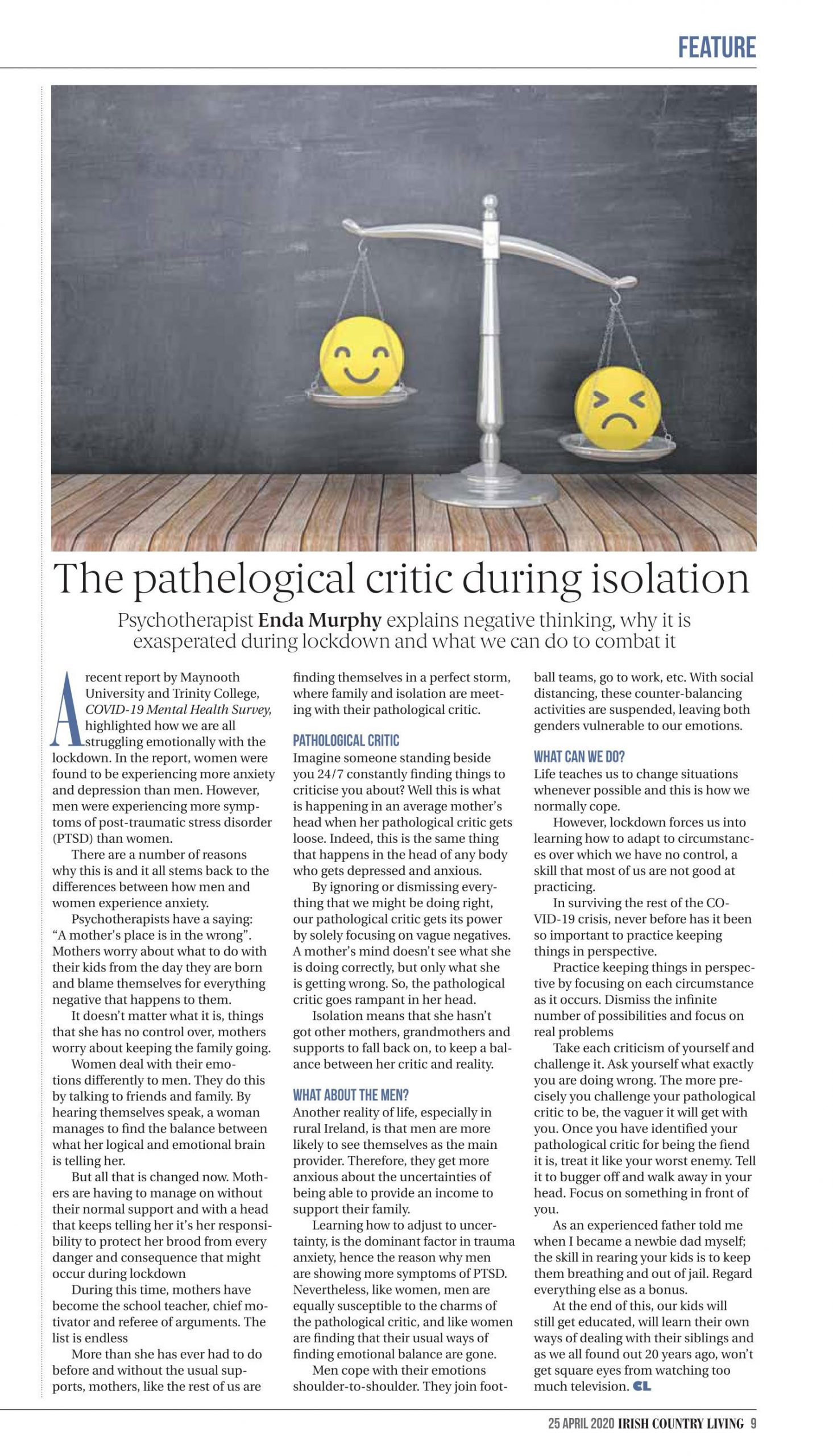 The pathalogical critic during isolation Irish Country Living Magazine Full Article